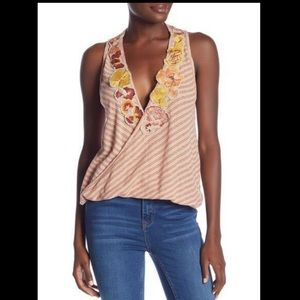 Free People Floral Embroidered Stripe Tank Top